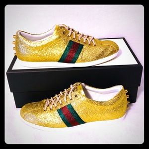 Mens Gold Gucci Sneakers